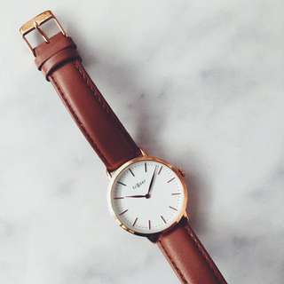 Fraser Collection Rose Gold & Tan Watch