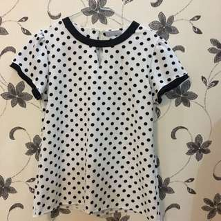 Polkadot Blouse White