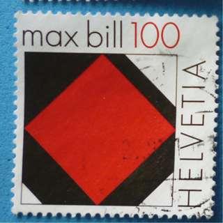 Stamp Switzerland 2008 Concrete Art Red square of max Bill 100 Centimes