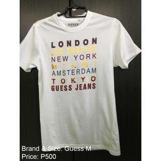 GUESS Men's Top T-shirt White Medium