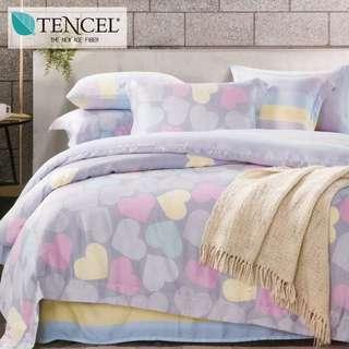 【樂】100%天絲TENCEL 雙人/雙人加大/特大 40支天絲 四件式鋪棉兩用被套床包組&鋪棉兩用被套床罩組(妙戀-灰)