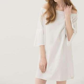 Meier.q 氣質一字領白色洋裝
