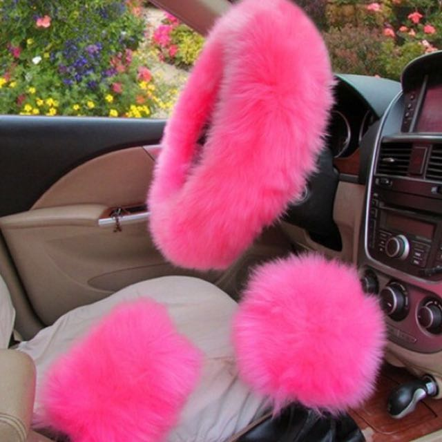 3 pcs. Pink fluffy car accessories