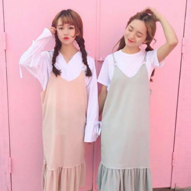 韓國吊帶洋裝(粉色魚尾裙)