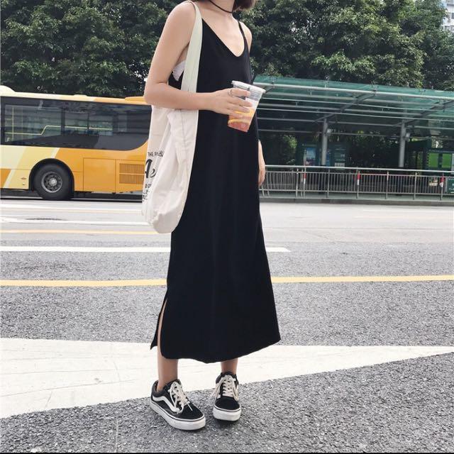 黑色棉質背心洋裝