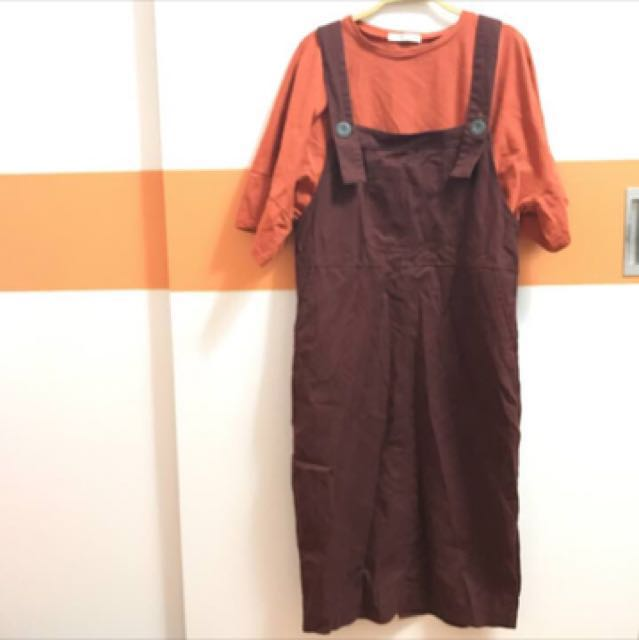 咖啡色吊帶裙