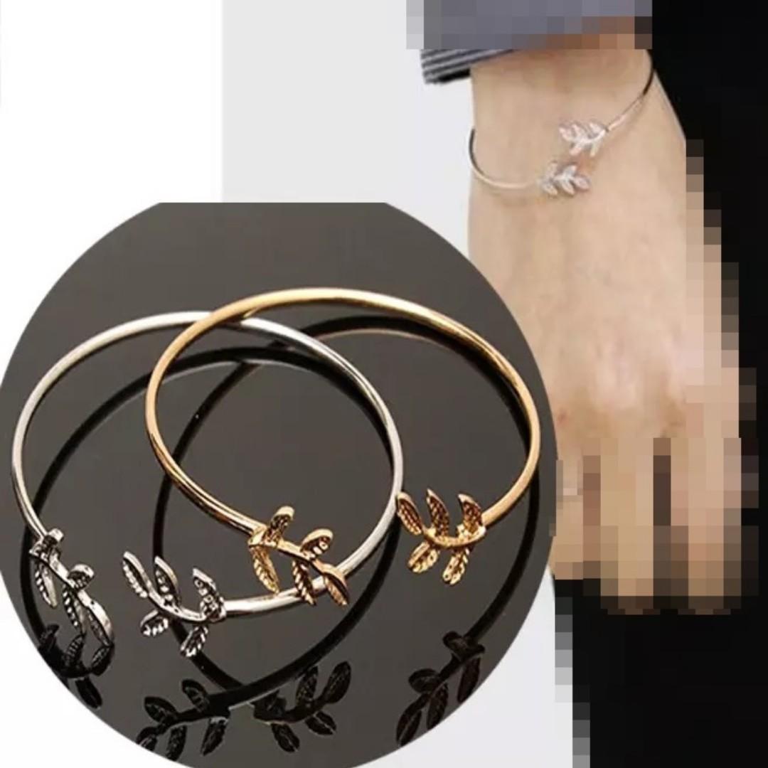 細款可調節手環手鐲韓國簡約甜美開口樹葉手鏈女日韓森林系小清新手飾品 金色/銀色