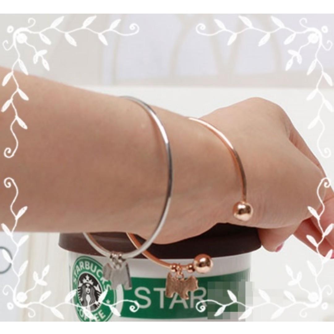 韓版首飾品 小動物光面狗手鏈簡單大氣手鐲 狗狗雪納瑞開圓珠口手鍊 銀/金