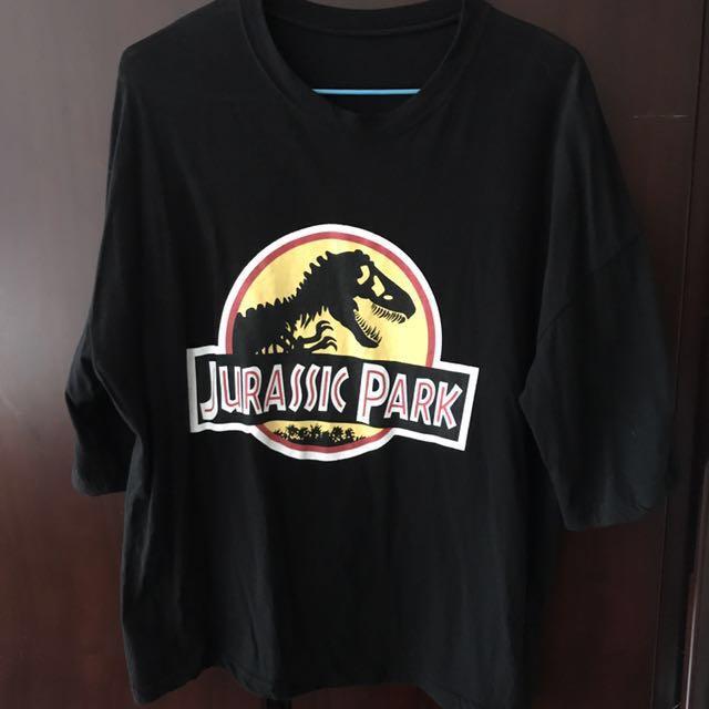 恐龍 黑色 休閒 五分袖 上衣