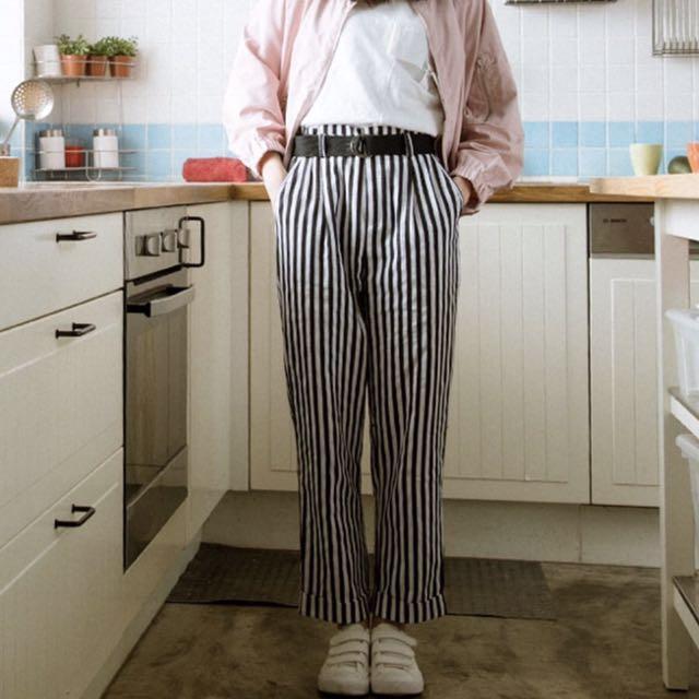 黑白 直條紋 腰帶 中腰 寬褲