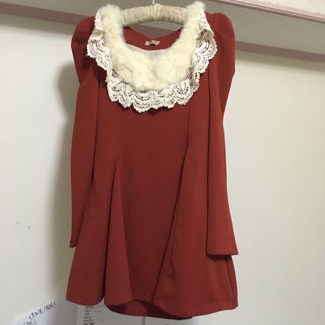 出售「全新」韓系連身復古洋裝-腰身很明顯👗(橘紅) NTD.1000/元(no含運費/北市面交)