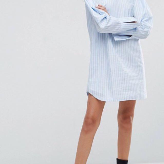 ASOS extreme sleeve cotton stripe shirt dress