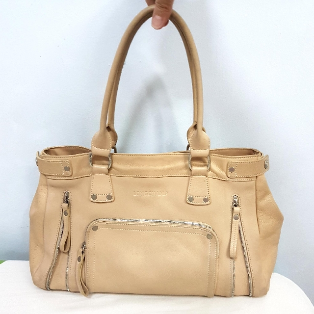 REPRICED Authentic Genuine Leather Longchamp Beige Bag Purse Preloved