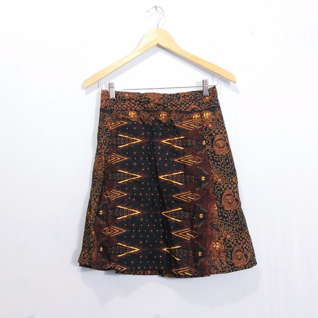 Batik A Line Midi Skirt Rok Etnik Murah Olshop Fashion Dress Setelan Avina Mocca Wanita On Carousell