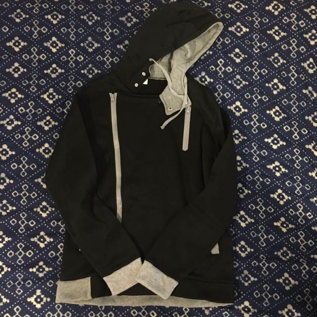 Black and grey hooded jacket