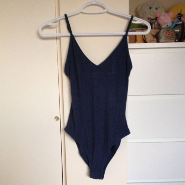 Blue Ribbed Bodysuit