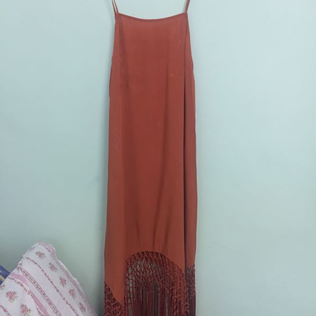 Brown dress with tassels