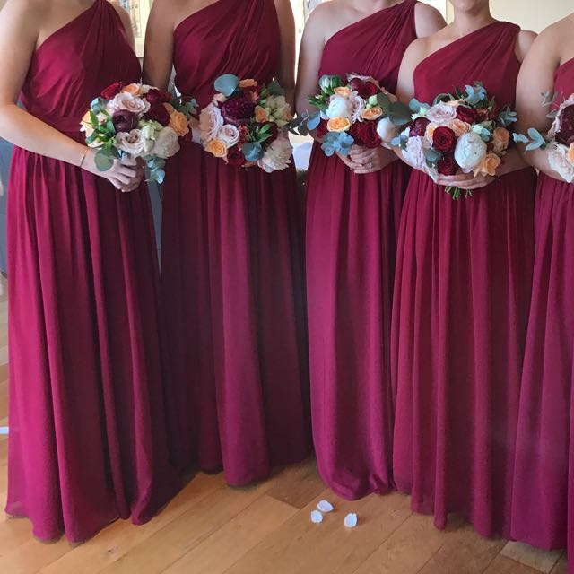 Burgundy Chiffon Full Length Dress