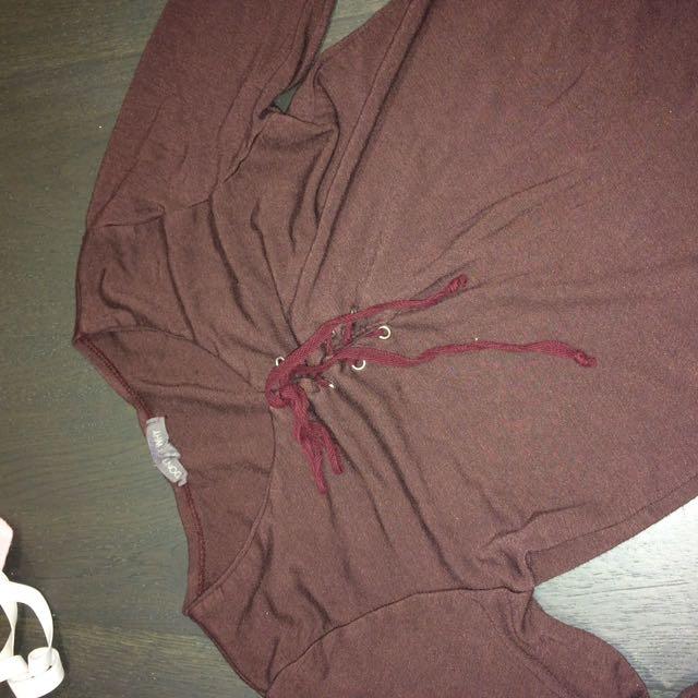 Burgundy Tie Up American Eagle Long Sleeve