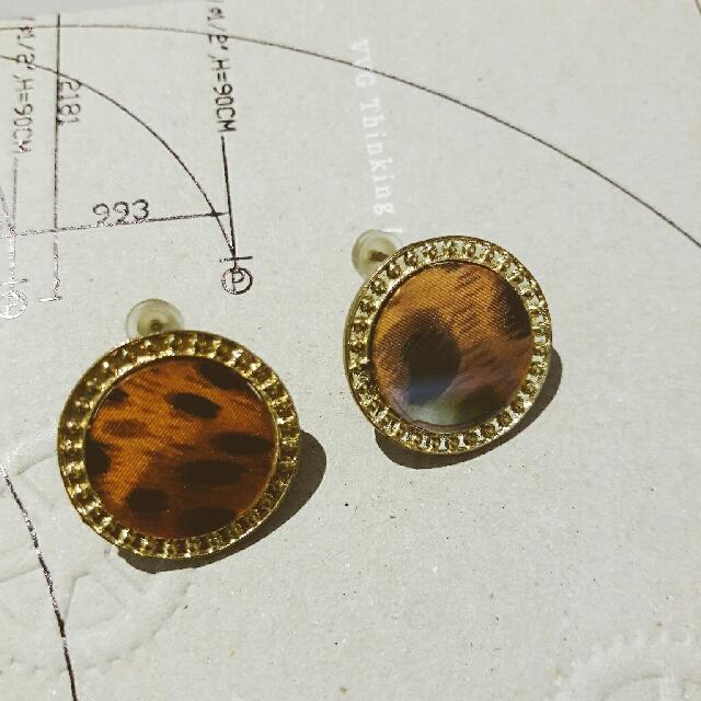 CAGE】豹紋圓形耳環