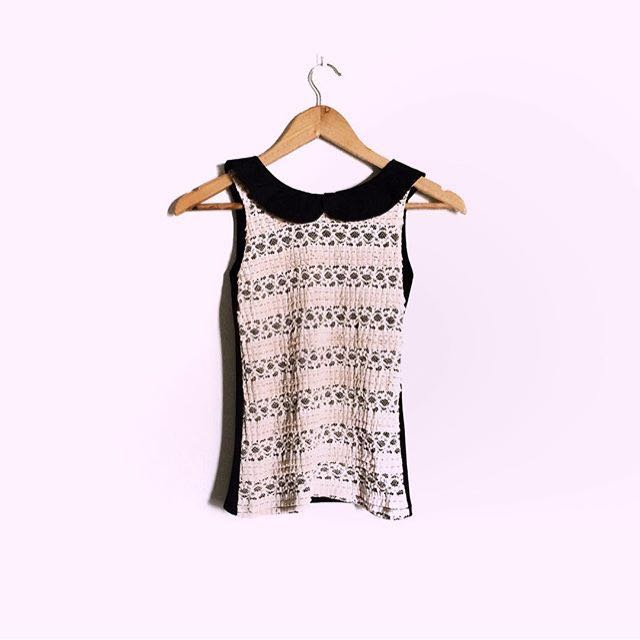 *REPRICED* Collared Short-sleeved Blouse