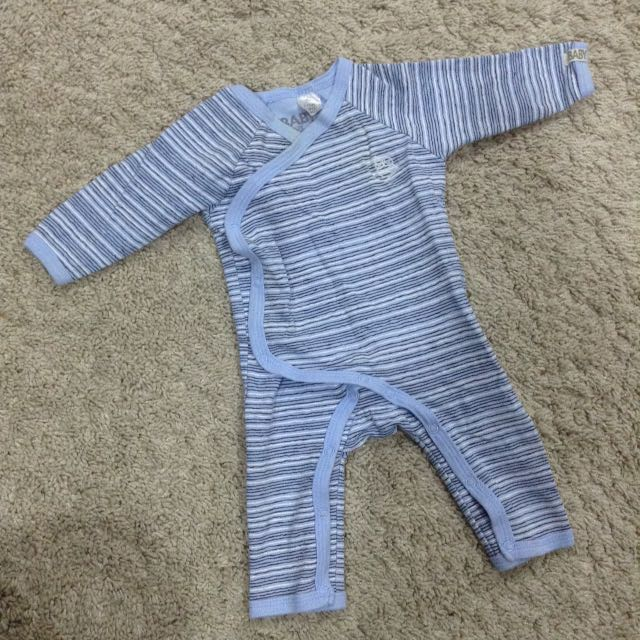 Cotton On Blue striped Baby Boy Unisex Long Sleeve Sleepsuit