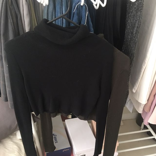 Cropped Turtle Neck, Long Sleeves