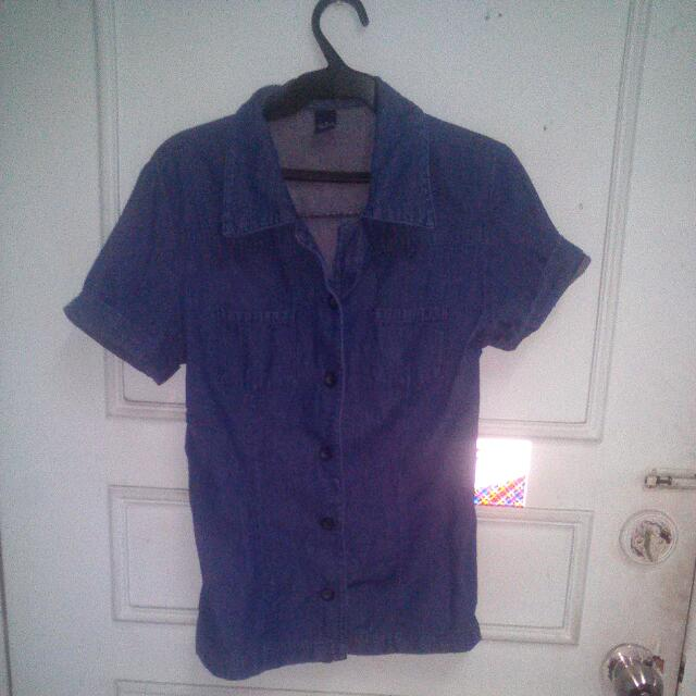 Denim Polo Shirt  #GarageSale