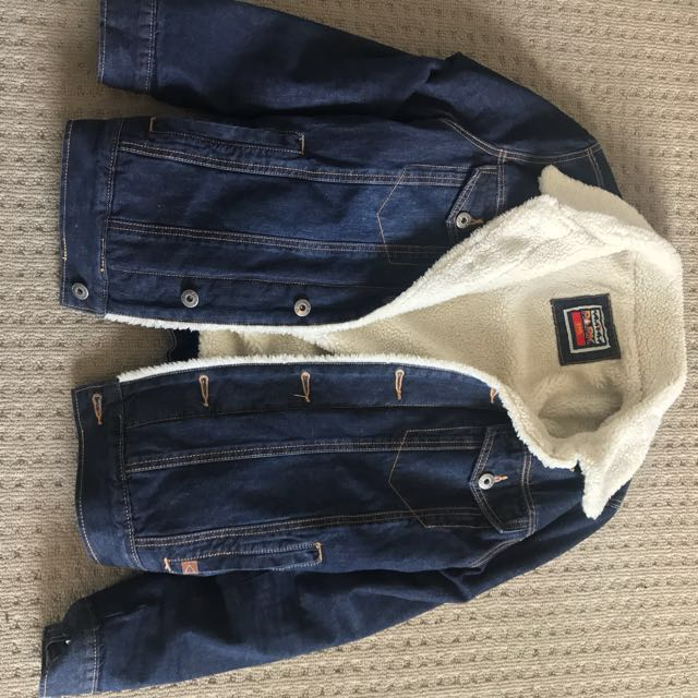 Denim Sherpa Jacket- Small