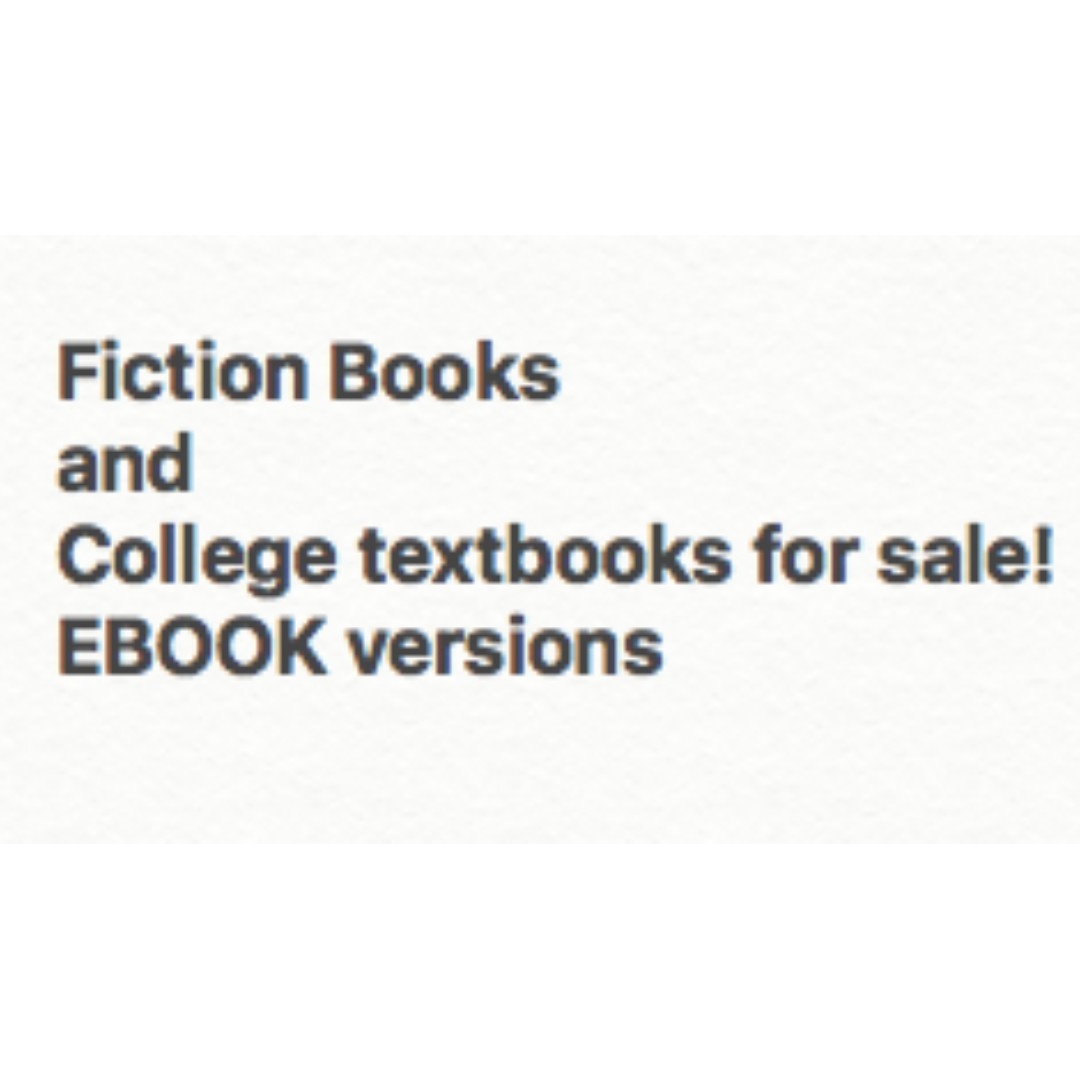 Fiction Books and College Textbooks (EBOOK versions)