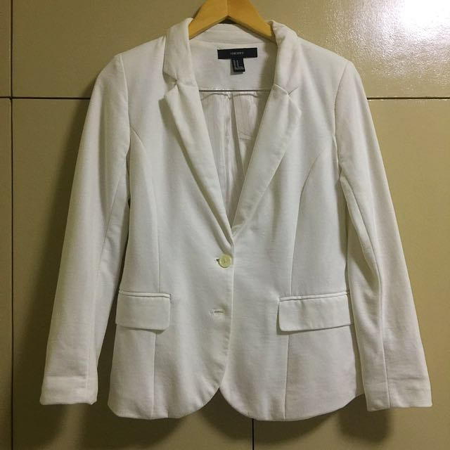 FOREVER21 White Cotton Blazer