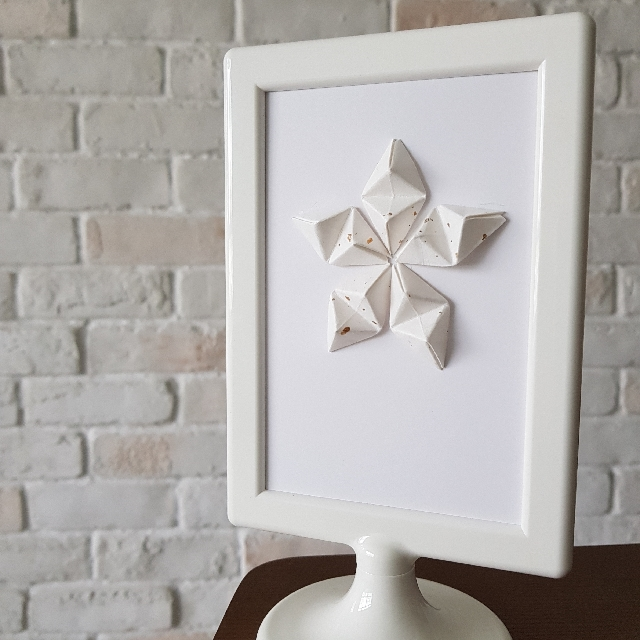 Framed Handmade Mini 5 Sided Star Origami Art