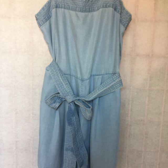 Gap 天粉藍舒適柔軟吊帶背心綁帶連身褲