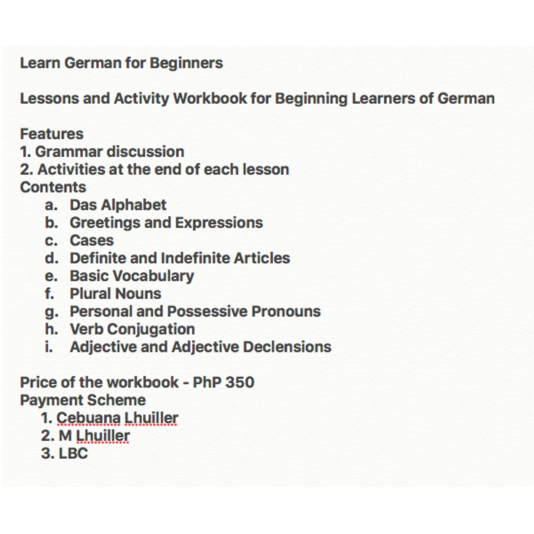 German Lesson Workbook (Ebook version)