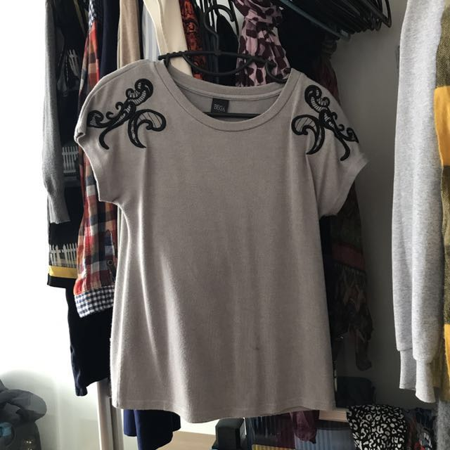 Gray embroidered top