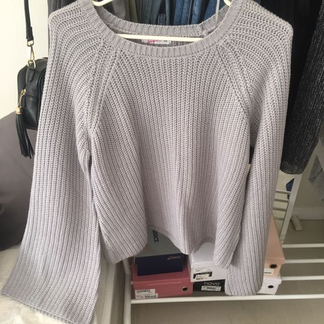 Grey Bell Sleeve Knitted Sweater