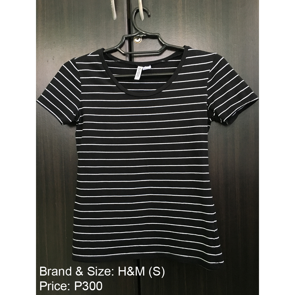 H&M Basic Striped Black and White T-shirt Top Original