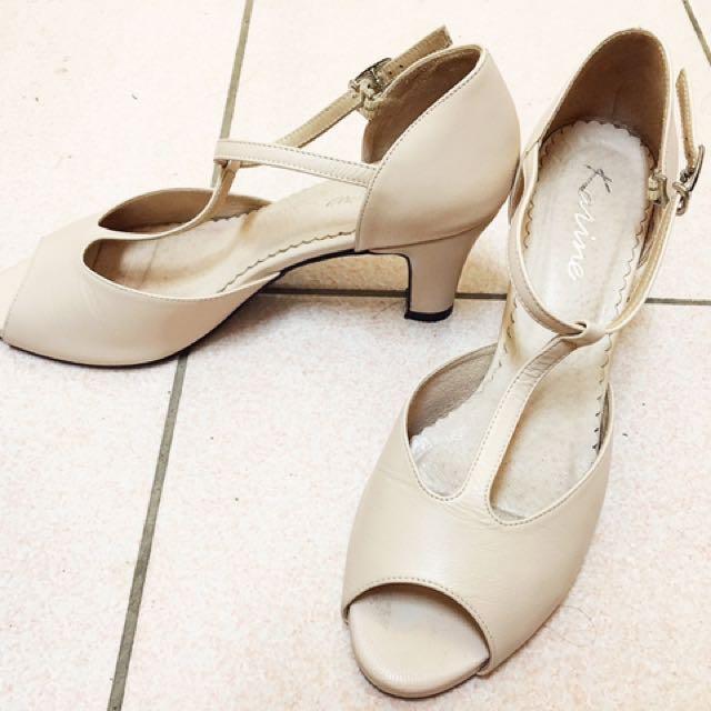 karine 真皮 高跟鞋 婚禮 謝師宴 白色