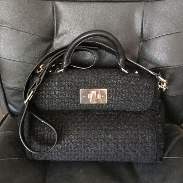 Kate Spade ♠️ black woven crossbody bag Chanel style
