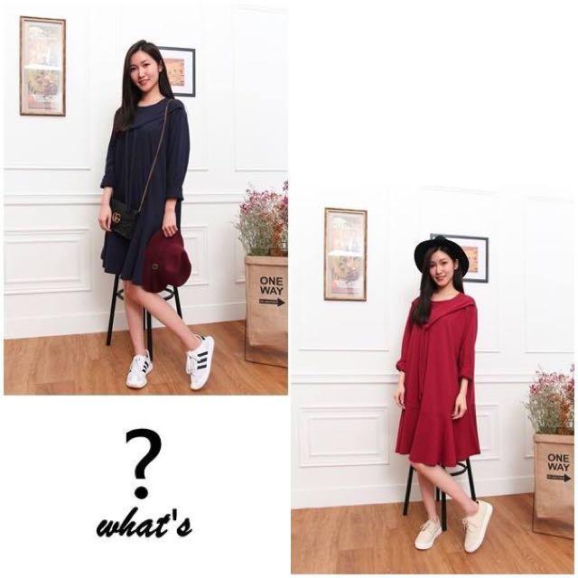 Korea 👗素色假兩件洋裝