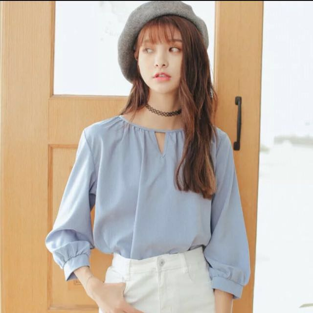 f48e05c090df78 Korean Baby Blue Blouse, Women's Fashion, Clothes, Tops on Carousell