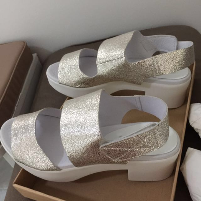 Ladies wedges gold white shoes