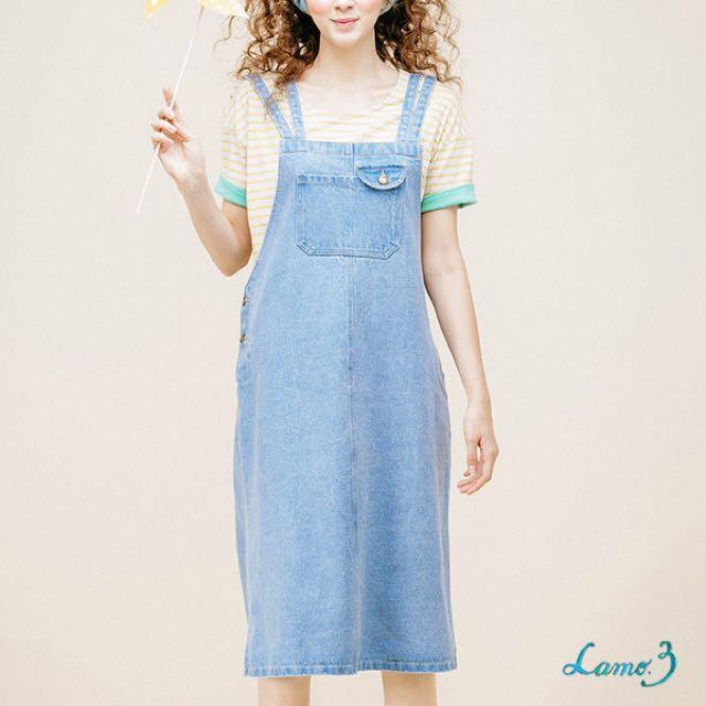 特價)Lamo.3 蘭風鈴的歌聲牛仔吊帶裙-淺藍色