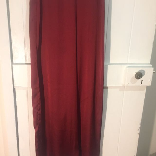 Maroon Satin Pants