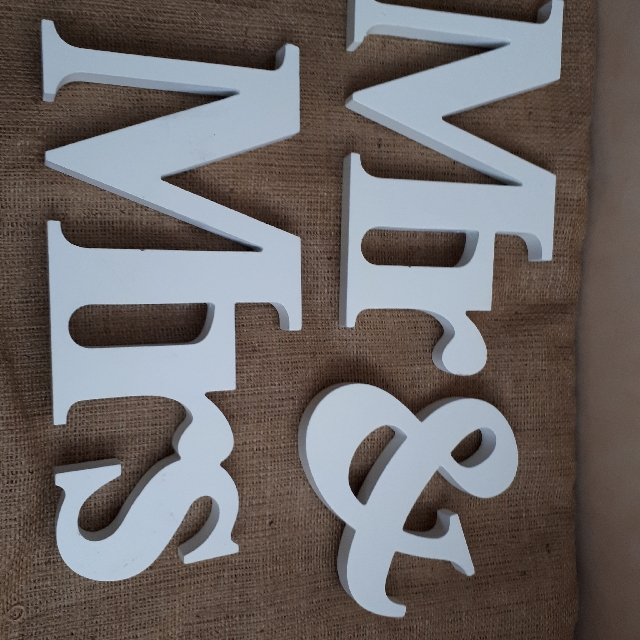Mrs & Mrs Sign. 3 X White Ribbon With Silver Heart. Marriage Certificate Holder. Marriage Sign