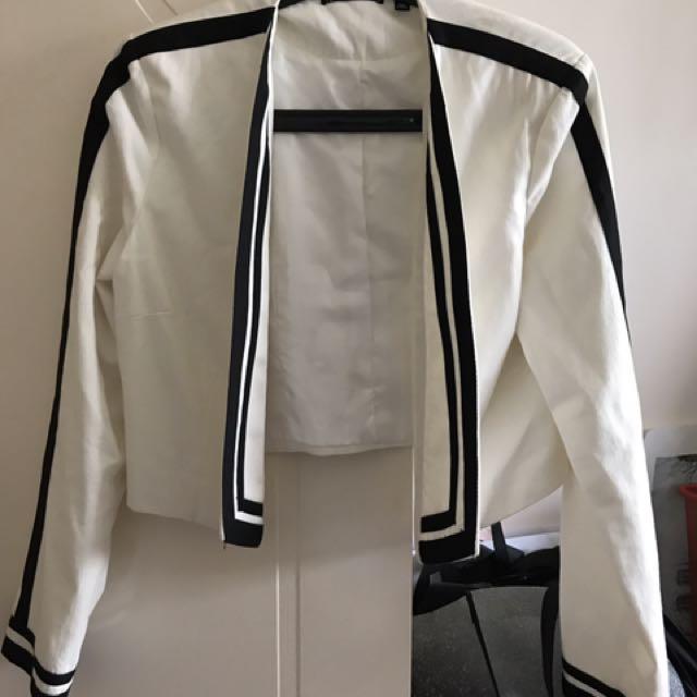Myer Tokito size 10 white cropped jacket bolero striped office