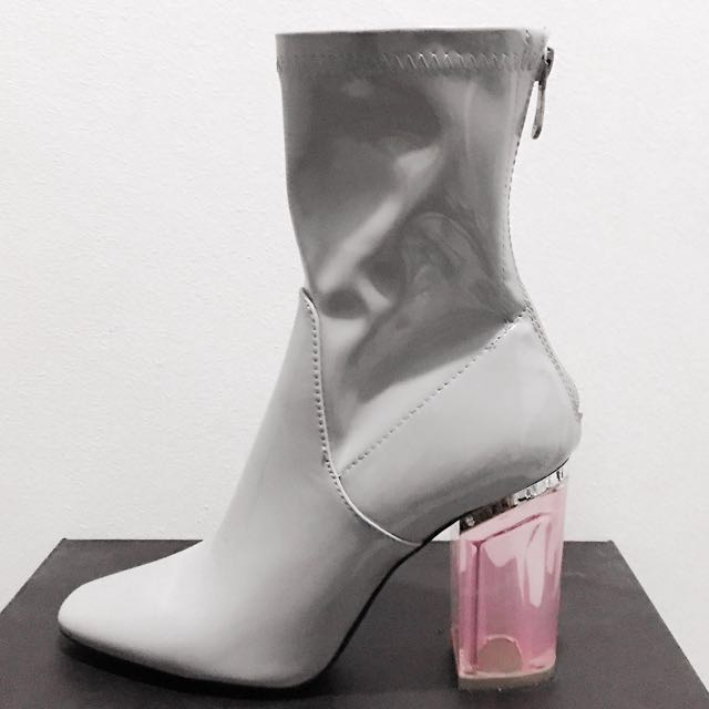 PUBLIC DESIRE CHLOE PERSPEX HEELED ANKLE BOOTS IN GREY