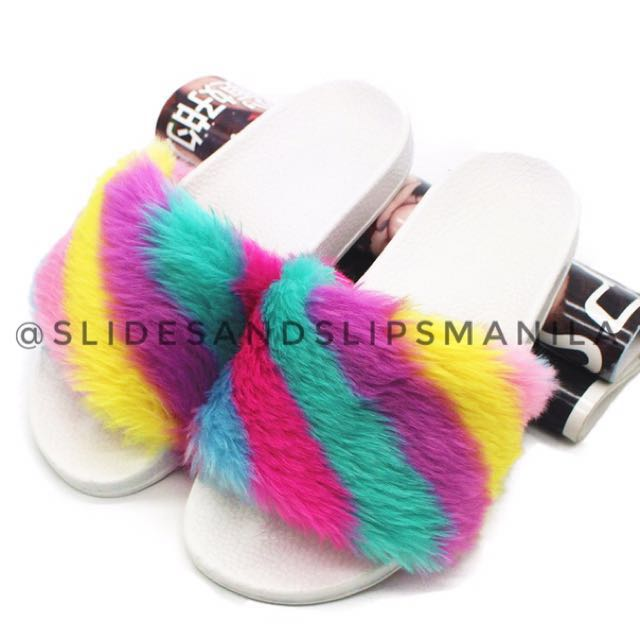 rainbow fur slides women s fashion shoes on carousell