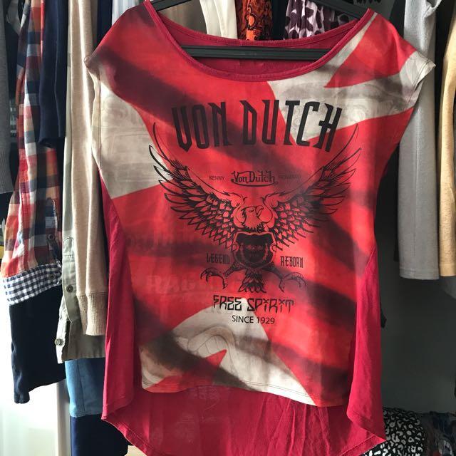 Red Von Dutch top