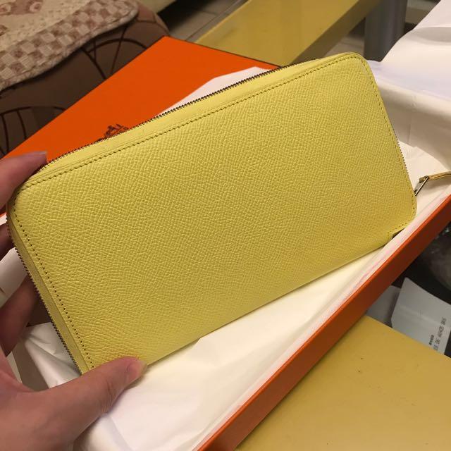 換redline 正品 Hermes 絲巾 檸檬黃長夾
